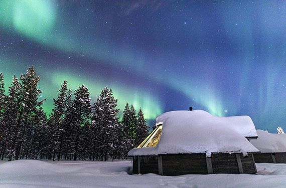 Übernachtung in der Glasdach-Hütte in Lappland für 2